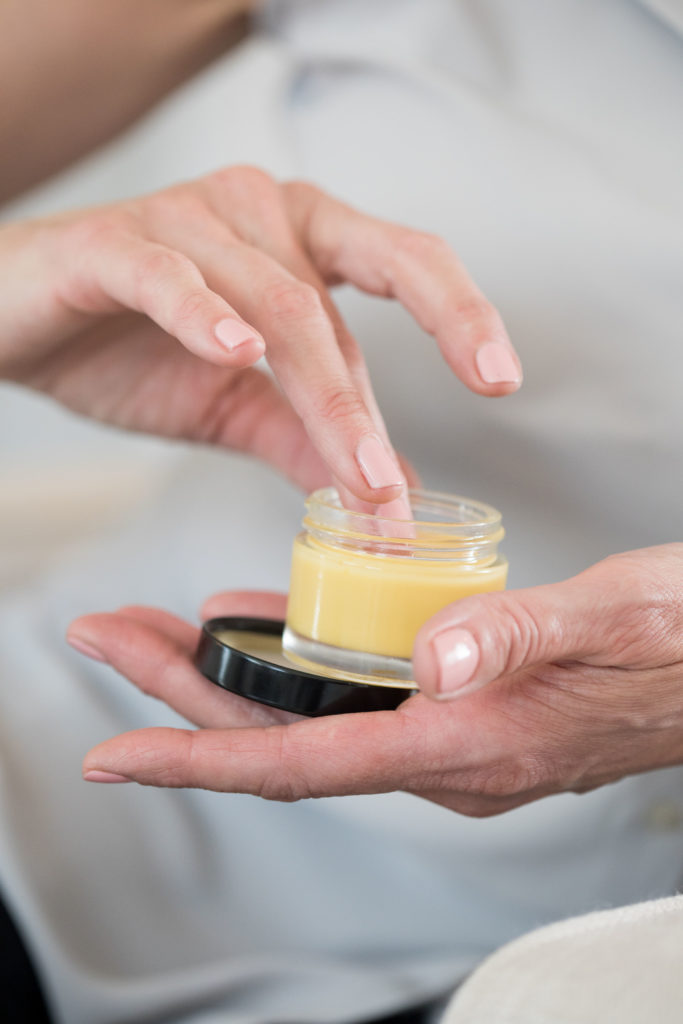 Equilibria Relief Cream in hands